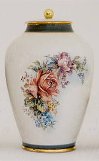 Pottery cremation urns - apricot rose design