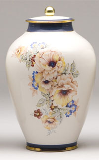 Pottery cremation urns - traditional bouquet design