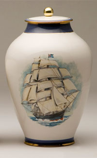 Pottery cremation urns - clipper ship design
