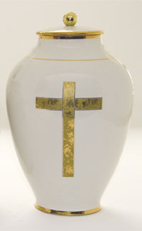 Pottery cremation urns - gold cross design