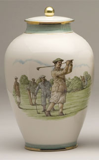 Pottery cremation urns - victorian and modern golfer design