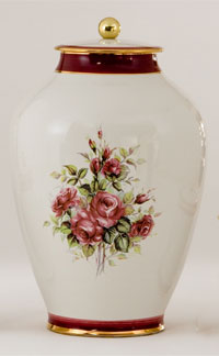 Pottery cremation urns - red roses design